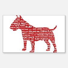 Vintage London Slang Bull Terrier Red Decal