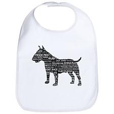 Vintage London Slang Bull Terrier Black Bib