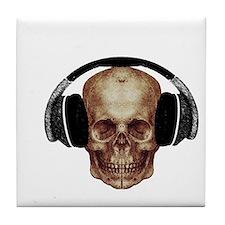 Vintage DJ Headphones Skull Tile Coaster