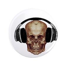 "Vintage DJ Headphones Skull 3.5"" Button"
