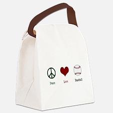 Peace Love Baseball Canvas Lunch Bag