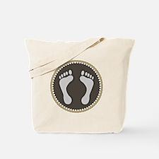 Cute Earthtone Feet Emblem Tote Bag