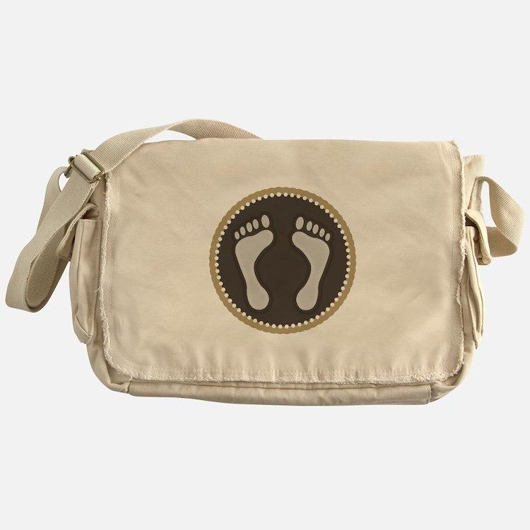 Cute Earthtone Feet Emblem Messenger Bag