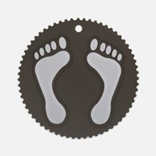 Cute Earthtone Feet Emblem Ornament (Round)