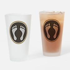 Cute Earthtone Feet Emblem Drinking Glass