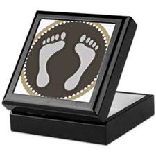 Cute Earthtone Feet Emblem Keepsake Box