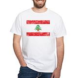 Lebanon flag Mens White T-shirts
