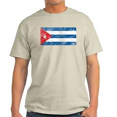 Vintage Cuba Flag Ash Grey T-Shirt