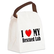 I Love My Rescued Lab Canvas Lunch Bag