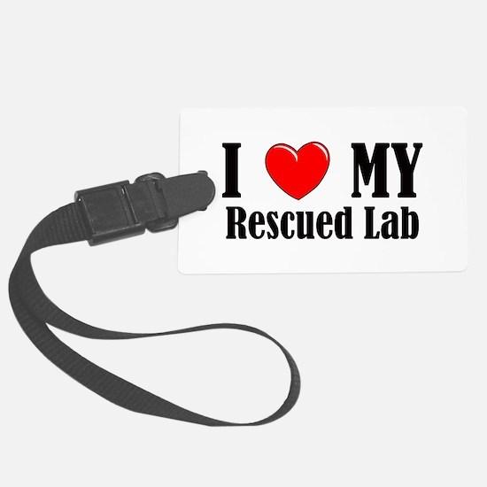 I Love My Rescued Lab Luggage Tag