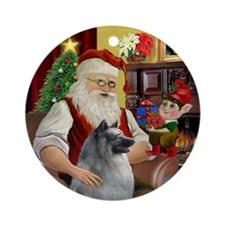 Santa's Keeshond Ornament (Round)