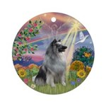 Cloud Angel & Keeshond Ornament (Round)