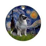 Starry Night Keeshond Ornament (Round)