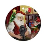 Santa's Black Poodle Ornament (Round)