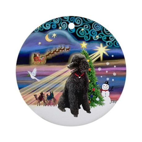 Xmas Magic & Black Poodle (ST) Ornament (Round