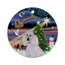 Xmas Magic & White Poodle (ST) Ornament (Round)