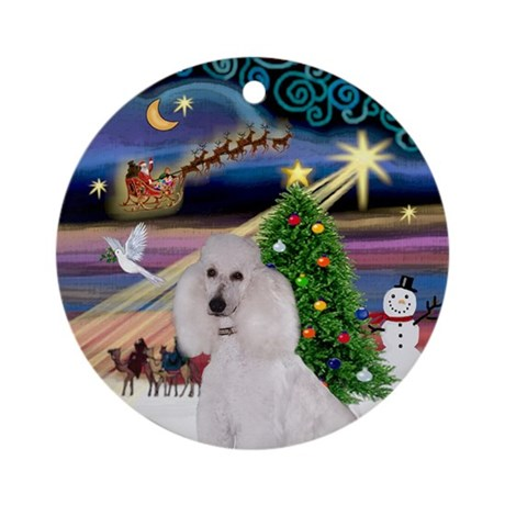 Xmas Magic & White Poodle (ST) Ornament (Round)