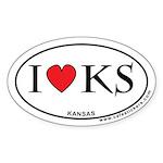 I Love Kansas Oval Sticker