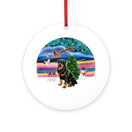Xmas Magic & Rottweiler Ornament (Round)