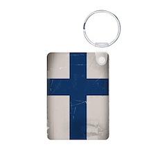 Distressed Finnish Flag Keychains