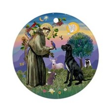 Saint Francis & Black Great Dane Ornament (Rou