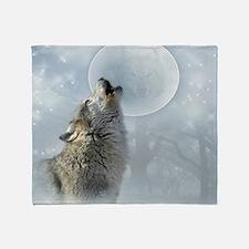 Wolf Blue Moon Throw Blanket