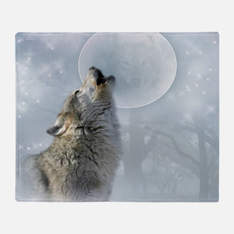 Wolf Blue Moon Throw Blanket