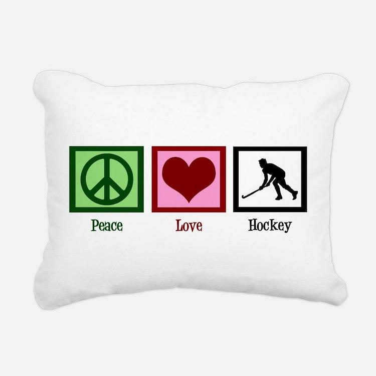 Peace Love Hockey Rectangular Canvas Pillow