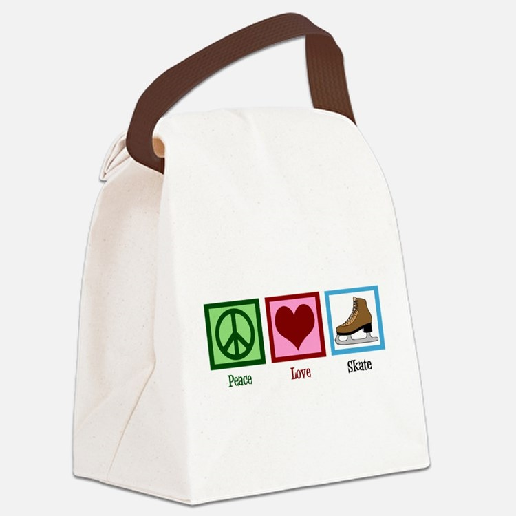 Peace Love Ice Skating Canvas Lunch Bag
