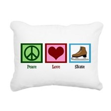 Peace Love Ice Skating Rectangular Canvas Pillow
