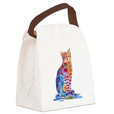 Whimsical Elegant Cat Canvas Lunch Bag