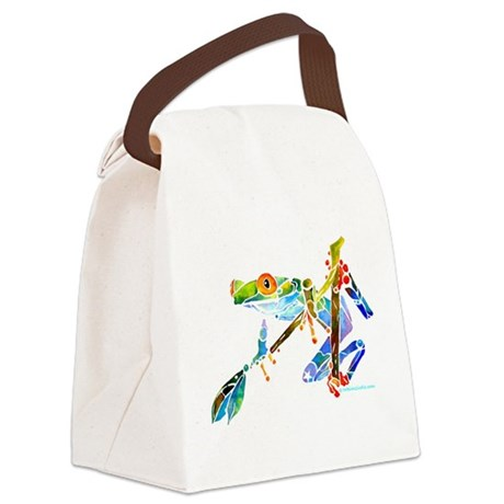 Frog0014CafeZ.png Canvas Lunch Bag