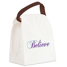 BelievePurple4CafeZ.png Canvas Lunch Bag