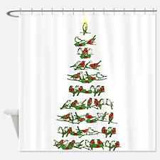 Christmas Bird tree Shower Curtain