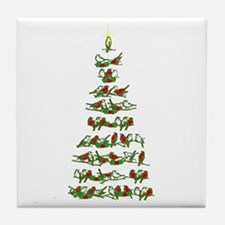 Christmas Bird tree Tile Coaster