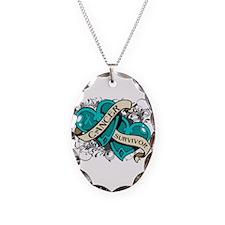 Ovarian Cancer Survivor Necklace Oval Charm