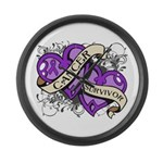Pancreatic Cancer Survivor Large Wall Clock