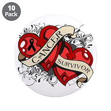 """Skin Cancer Survivor Heart 3.5"""" Button (10 pack)"""
