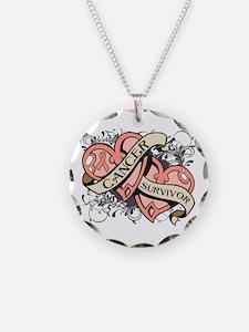 Uterine Cancer Survivor Necklace Circle Charm