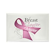 Pink Breast Cancer Warrior Rectangle Magnet
