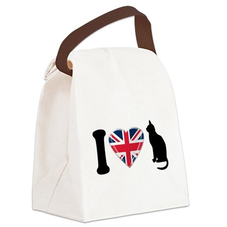 I Heart Cats with Union Jack Heart Canvas Lunch Ba