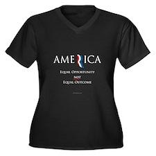 America - Equal Opportunity Women's Plus Size V-Ne