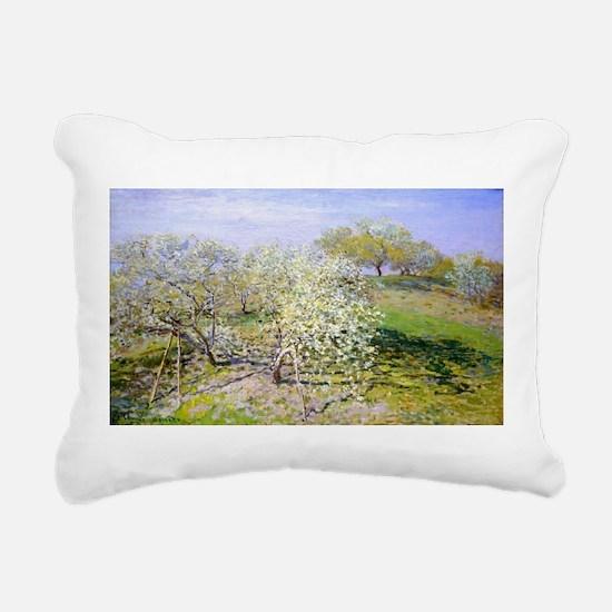 Claude Monet Apple Trees Rectangular Canvas Pillow