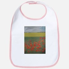 Artwork of a Poppy Meadow done in Pastels Bib
