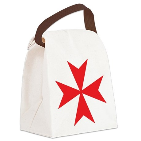 Red Maltese Cross Canvas Lunch Bag