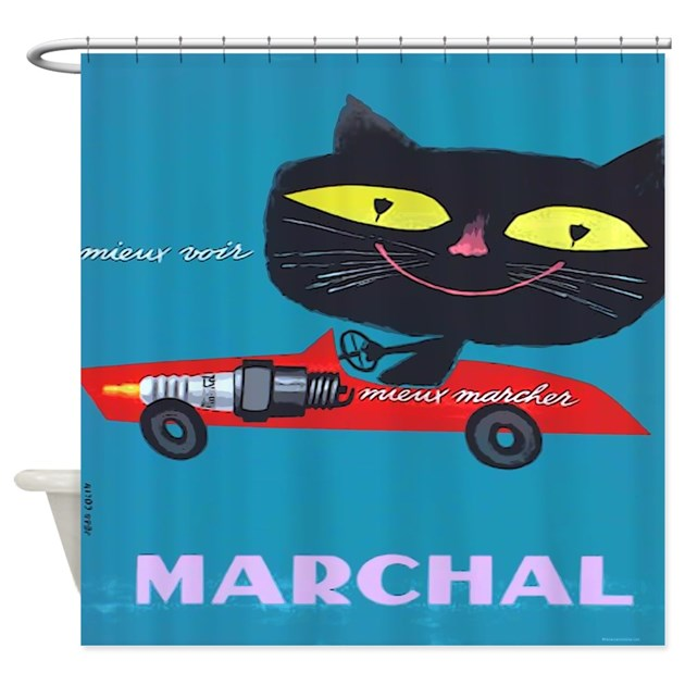 Vintage French Cat Car Poster Shower Curtain by rebeccakorpita