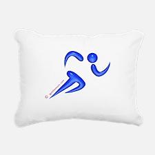 Running Blue Rectangular Canvas Pillow