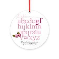 Gluten Free Alphabet Pink Ornament (Round)