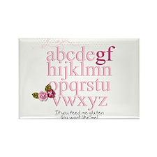 Gluten Free Alphabet Pink Rectangle Magnet