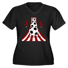 Personalized Red White Soccer Women's Plus Size V-